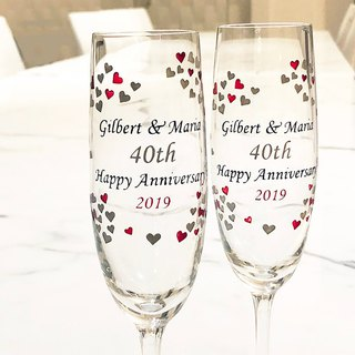 My Crystal Champagne Glasses - Heart To Heart (including engraved names & date)