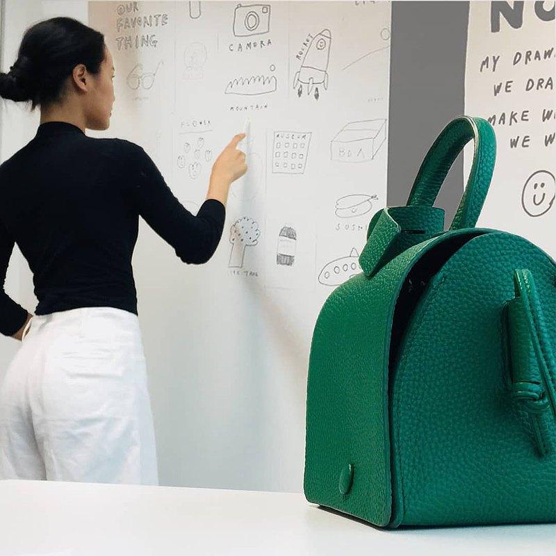 半三角形斜挎手提包或小包,迷你包,綠