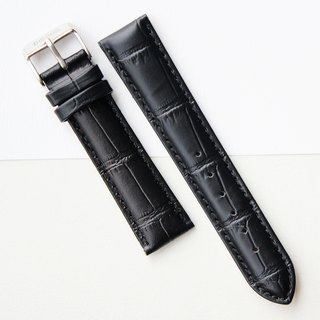 【PICONO】20-18mm texture black leather strap-Silver Buckle