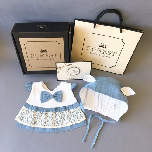 PUREST baby collection [rabbit Alice cowboy princess] gift box group (modeling cowboy lace bib + rabbit shape cap) female baby Mi month gift box newborn baby newborn full moon ritual birthday gift gifts preferred