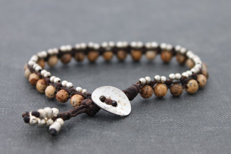 串珠編織手鍊,棕色碧玉石銀珠工作友誼手鐲,波西米亞波希米亞族裔吉普賽時髦中性手鍊