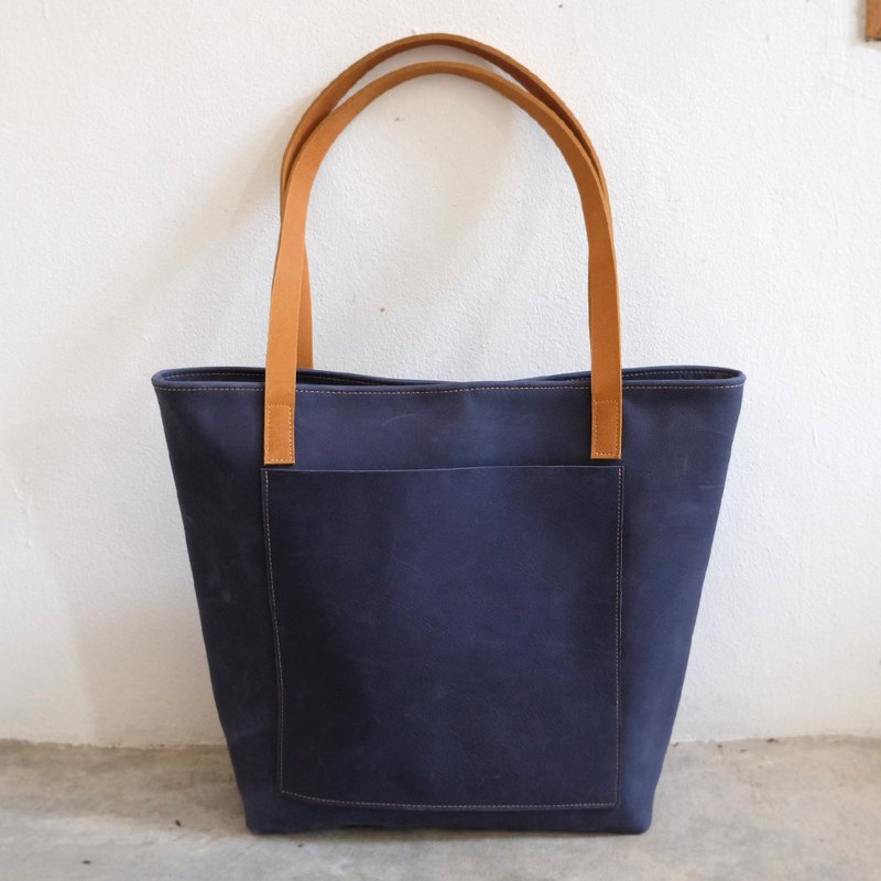 Retro Navy Blue Leather Tote Bag