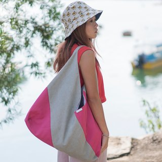 Gentle trinity canvas bag LARGE  Pink/ Roof grey
