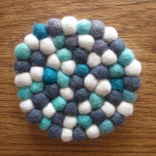 Cup coasters, Felt coasters Round 10cm Blue