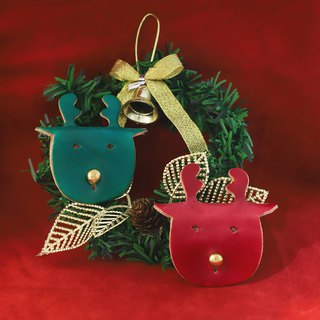 Leather cute elk hub - grass green. Dark red (Xmas, Christmas gifts, exchange gifts)