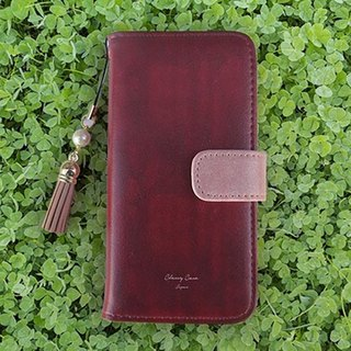 【All models】 Free shipping 【Handbook type】 Suede style adult wine red tassel strap with iPhone 8 / iPhone 8 Plus / iPhoneX