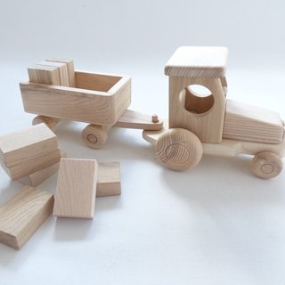 New Handcrafted Natural Ecological Organic One Wooden Tractor With Blocks - Toys For Girls & Boys - Can be painted / Size Approx 14 in or 35 cm