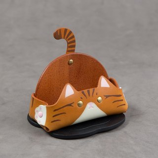 Animal Series - Business Card Holder / Mobile Phone Holder (Wide Edition - Orange Tabby Cat)