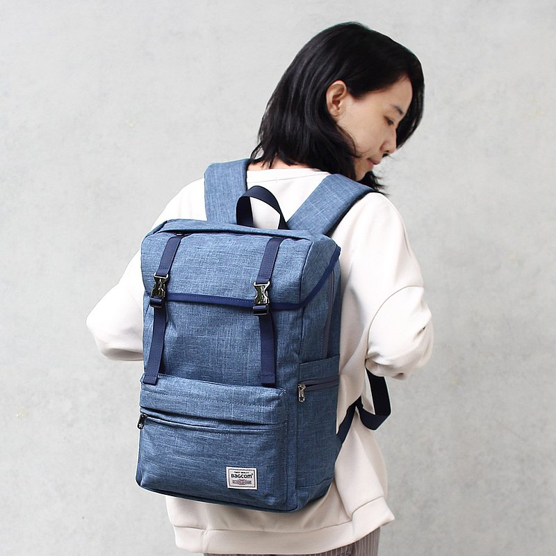 帶釦多層後背包(14'' Laptop OK)-藍色_100388