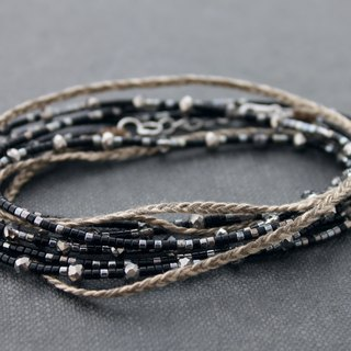 Beaded Wrap Bracelets Seed Beads Braided Chrome Midnight Taupe Necklaces