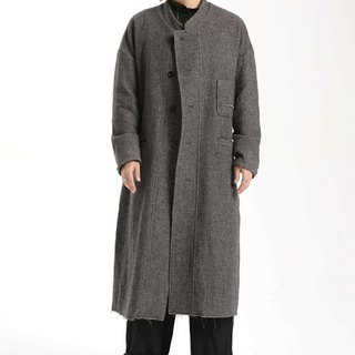 Raglan Chinese style long wool robe