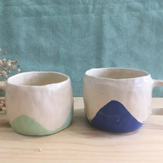 Hand Pinch Pottery - Small Cup Pink/Green