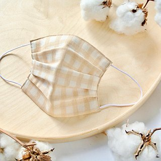 Natural cotton handmade mask Gingham Beige | Reduce cloudiness of glasses