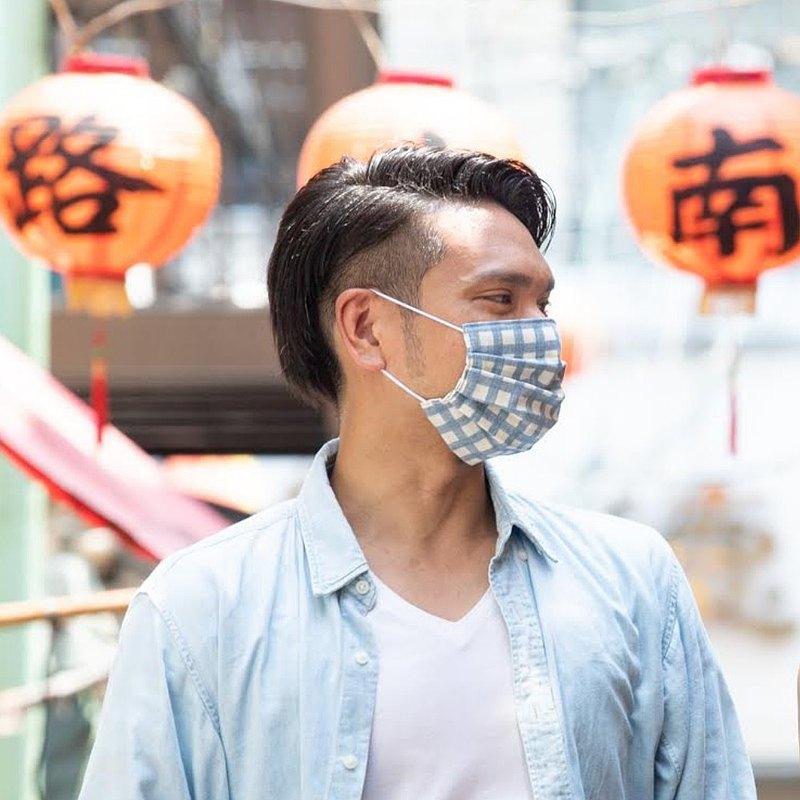 手工立體口罩 可洗滌 日本製純棉二重紗布 格子 米色 成人