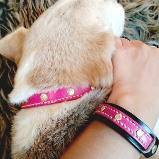 [Handsome] collar handmade leather collars commitment group (M) - with hairy child together promise