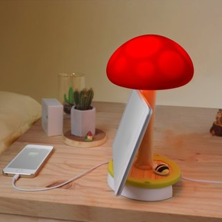 Vacii MushroomTouch Mushroom Touch Floor Lamp / night light / bedside lamp / charging stand - red