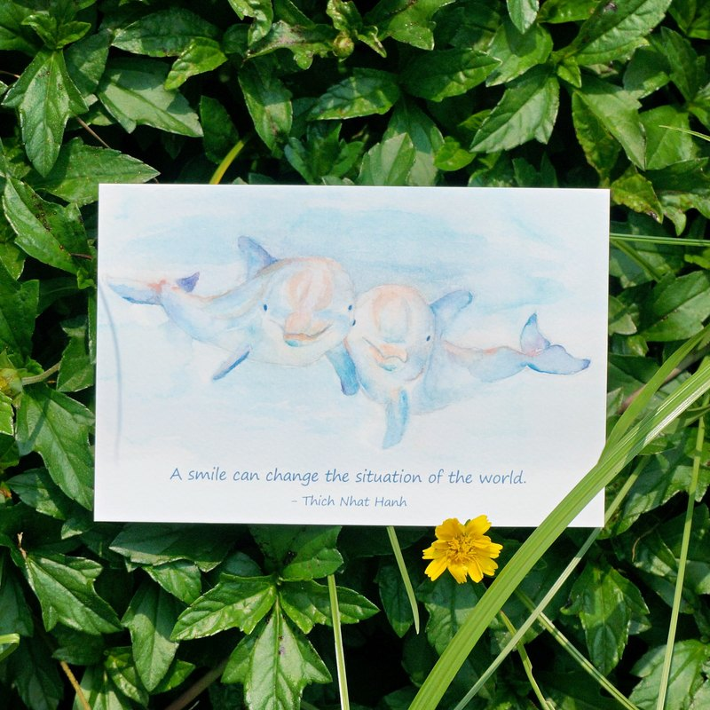 Lovely Animal watercolor postcard, Greeting card, Birthday card, print - Dolphin