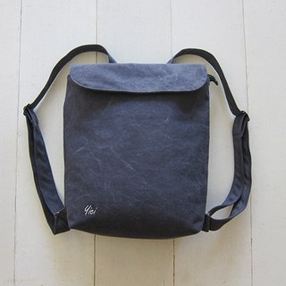 Canvas Backpack- Small  Charcoal + Creamy-White