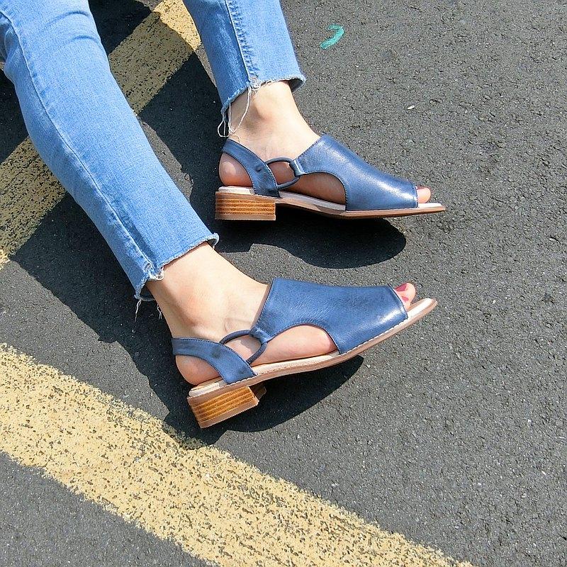 露跟造型真皮涼鞋 ||希臘天空之城 海軍藍 || 8299