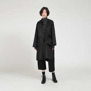 BUDU do not cross the black fun square patch pocket long trench coat