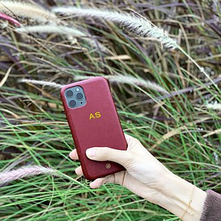 Customized multicolor leather goatskin series macarons dreamy color wine red iPhone case