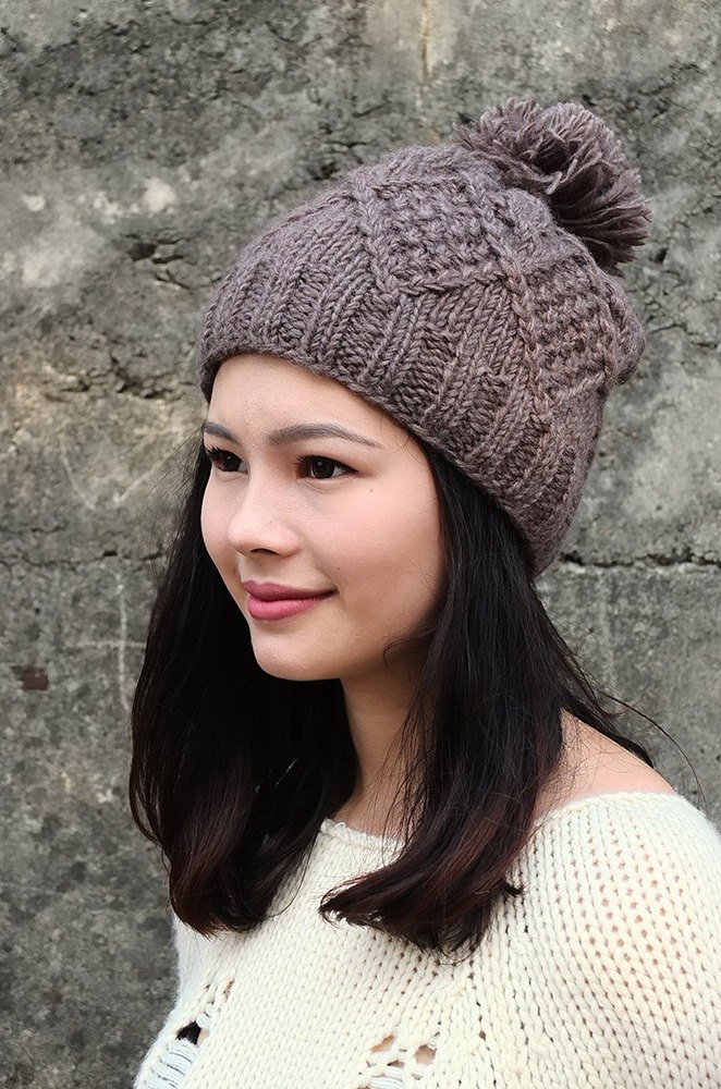 Grooving the beats Handmade Hand Knit Wool Beanie Hat with Pompom ... e37cd44e409