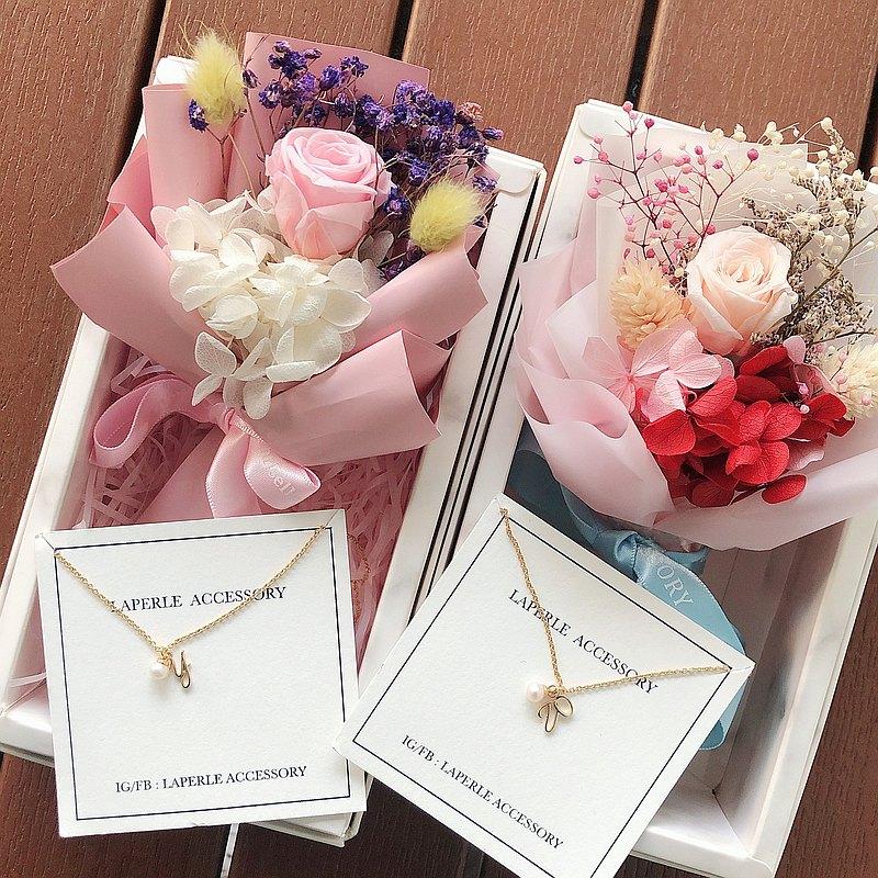 客製 英文字母 乾燥花 不凋花 字母 珍珠  婚禮小物 姊妹禮物