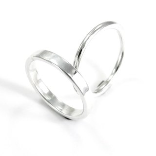 3mm bright surface texture ring - silver + thick line ring - double set of sterling silver ring