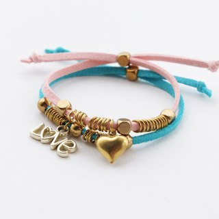 Pink/Sky Blue heart love charms bracelet with brass materials - set bracelets