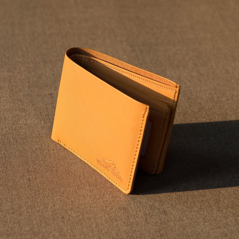 'WEALTHY' LEATHER SHORT WALLET-YELLOW CREAM