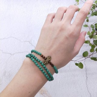 【108 rosary series】 malachite*gold coral*Razor beads beads ring hand
