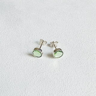 Round light green glass/Earrings/Swarovski Crystal/Sterling Silver/By hand【ZHÀO】SZE1648