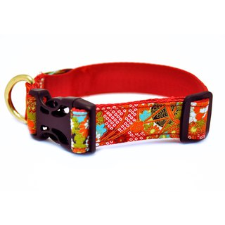 Dog Collar Safety Light- red flower patten-stylish dog collar