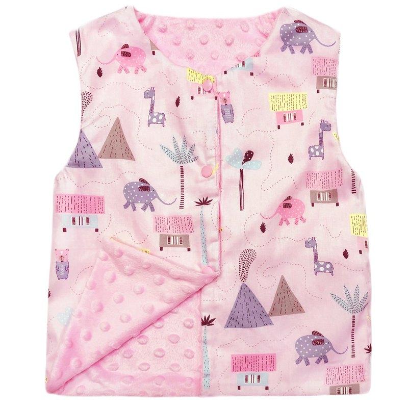 Minky點點 印花雙面背心 正反兩面穿 粉色叢林