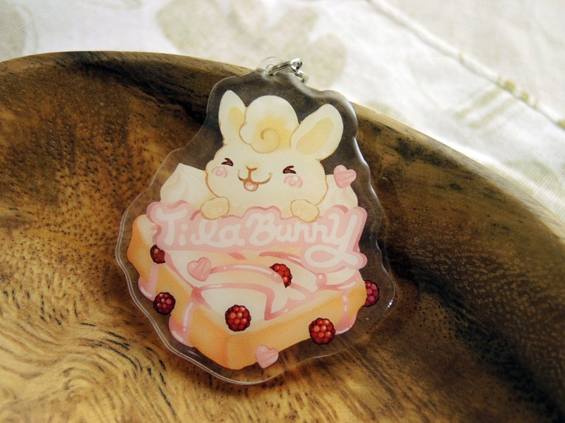 Acrylic Two-sided Charm - Toast Rabbit - Raspberry