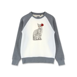 AMO  Original cotton adult Sweater /AKE/ A Cat In a Red Flower