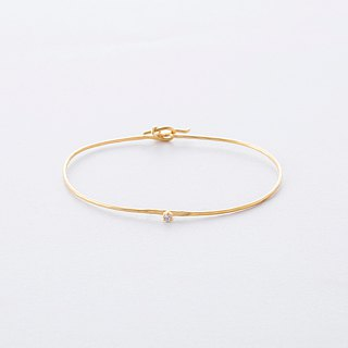 ジルコニアツチメバングル / Zirconia Brass Hammered finish Bangle