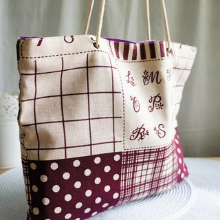 Lovely, square foldable carry-on green bag ‧ A4 magazine, patchwork style purple