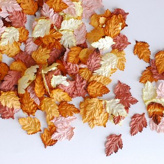PAPER LEAVES, leaves prop photography: 500 pieces of rose leaves, Handmade. 4 cm. maroon be, ivory, brown and yellow color.