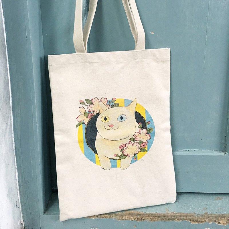 Cat Ukiyo Painting Showa Era Vintage Label Double Sided Pattern Canvas Bag