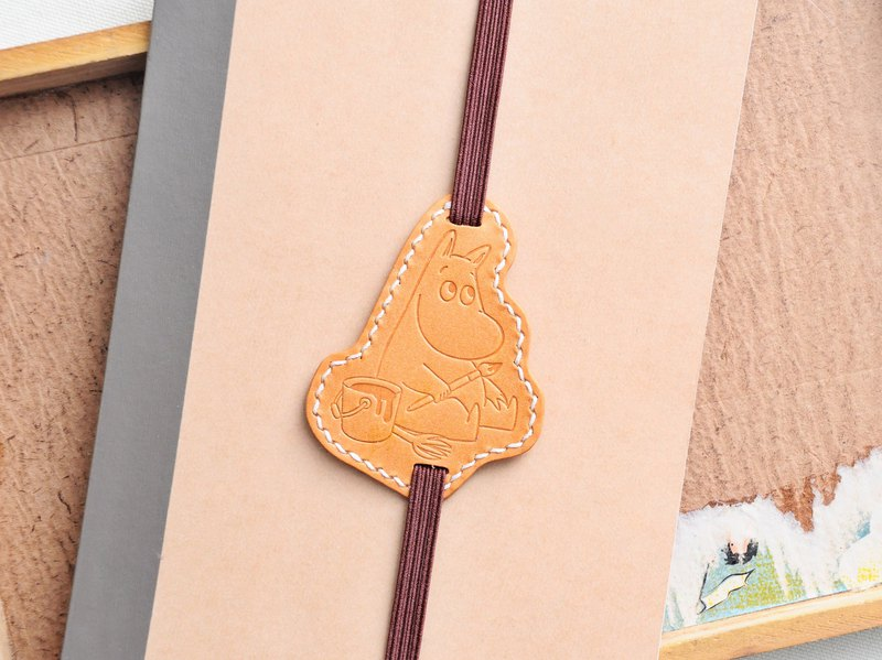 MOOMIN x Hong Kong-made leather mingming bookmark orange-brown material package officially authorized glutinous rice bookmark