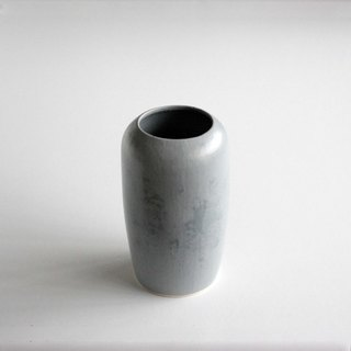 Handmade Ceramic Bud Vase - Matte Grey with Glossy Smoke Design