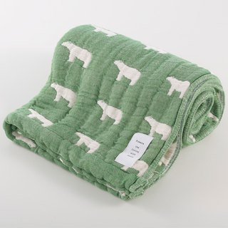 [Japan made today's crepe] six heavy yarn bath towel - green polar bear