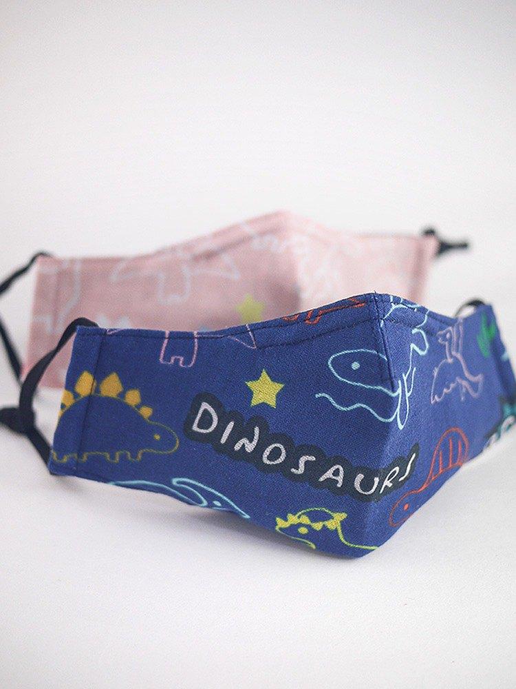 防疫安心出貨。童趣恐龍。可塞濾材口罩|鼻樑壓條|二重紗薄棉布|