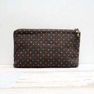 Brown dots  - cosmetic zipper  pencil bag