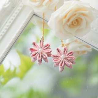 Pink Floral pattern Flower Chain Earrings Clip-on 14KGF, S925 custom