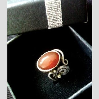 Handmade red agate silver ring