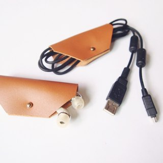 Leather Cord , Cable Organiser / Earphone Organiser with Antique or Silver Stud