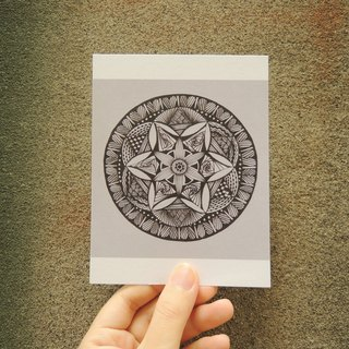 Hand-painted Mandala Postcards / one