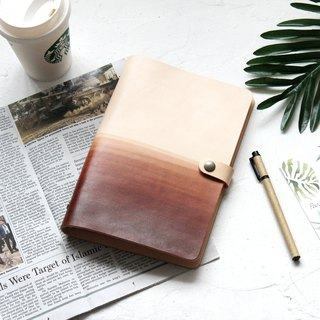 Dark brown white six-hole loose-leaf notebook handbook handmade leather notebook free customization